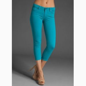 Paige Roxbury Ankle Crop Stretch Jeans Turquoise